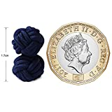 HONEY BEAR 1 Paar Herren/Damen Seide Stoff Knoten Seidenknoten Manschettenknöpfe für Hemd/Kleid zum (Navy blau 2) - 3