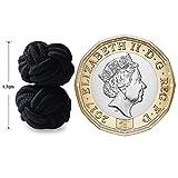 HONEY BEAR 1 Paar Herren/Damen Seide Stoff Knoten Seidenknoten Manschettenknöpfe für Hemd/Kleid zum (schwarz) - 3