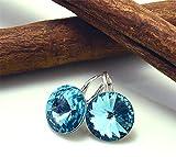 Crystals & Stones *RIVOLI* 14 mm *Türkis* 925 Silber Ohrringe Damen Ohrhänger mit Kristallen von Swarovski Elements - 3