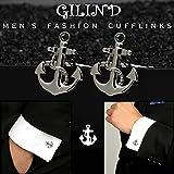 Gilind, 2Paar Herren-Manschettenknöpfe, nautischer Anker und Schiff-Steuerrad, einzigartige Manschettenknöpfe, mit Geschenkbox - 4