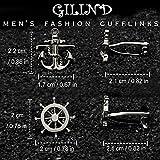 Gilind, 2Paar Herren-Manschettenknöpfe, nautischer Anker und Schiff-Steuerrad, einzigartige Manschettenknöpfe, mit Geschenkbox - 6