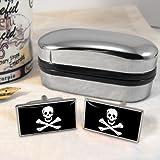 Totenkopf Männer-Manschettenknöpfe (Jolly Roger) mit Chrom-Geschenkbox