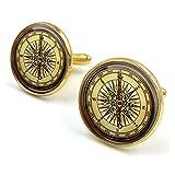 Butterfly N Beez Vergoldet Vintage Kompass Glaskuppel Runde Cabochon Manschettenknöpfe Geschenk UK