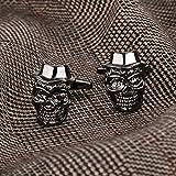 Bishilin Edelstahl Manschettenknöpfe Hochzeit Herren Totenkopf mit Hut Manschettenknöpfen Hemd Silber - 3