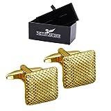 Herren Edelstahl Klassische gold gekrümmten quadrat Manschettenknöpfe - Luxuxgeschenkkasten inbegriffen