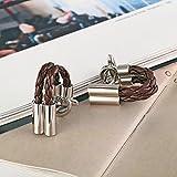 Daesar Schmuck 1 Paar Edelstahl Manschettenknopfe Herren Silber Braun Cylindrical Leder Cord Manschettenknopf 1.2x3.4CM -